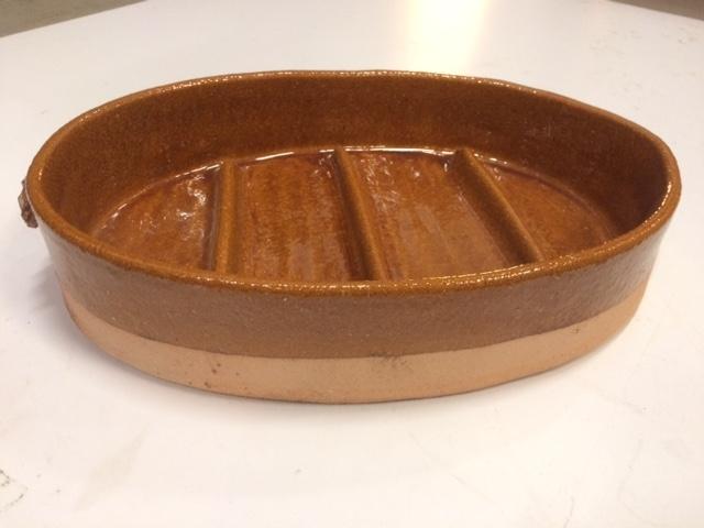 Vuurvaste ovenschaal ovaal met ribbels / 40cm