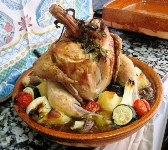 Vuurvaste ovenschaal rond voor kip/ diameter 28cm